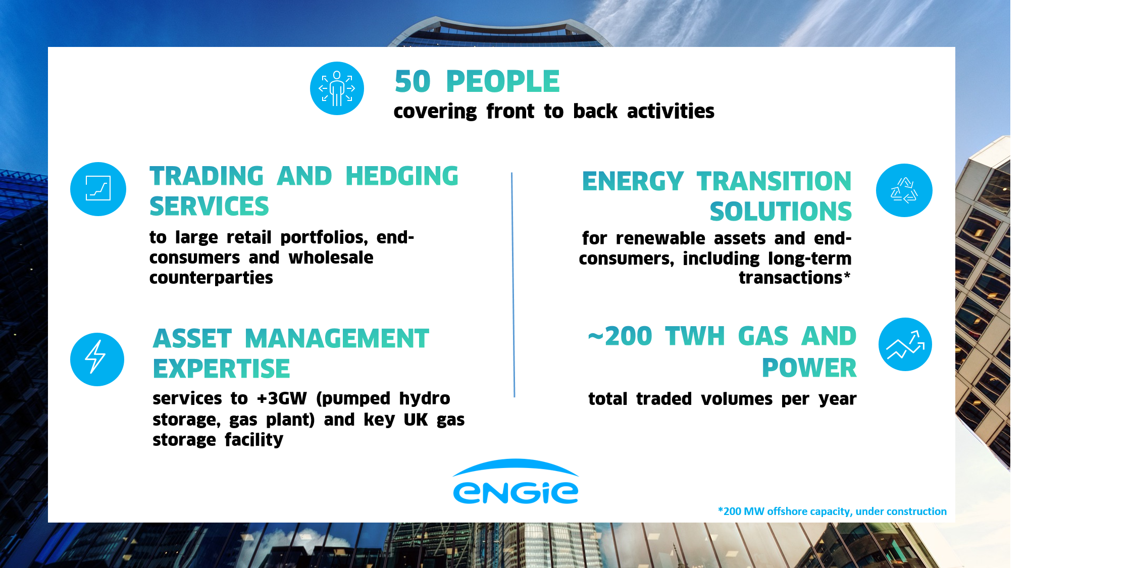 ENGIE Global Energy Management UK teams  works for trading and hedging services, asset manegement, energy transition, gas & power